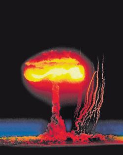 Een nucleaire explosie vanuit de ruimte bezien. Foto Reuters